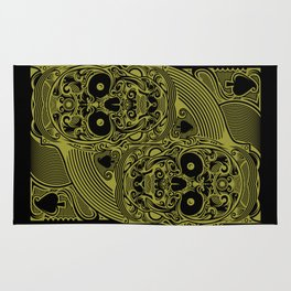Ace of Spades Gold Skull Playing Card Rug