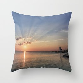 Sunbeams at Annisquam lighthouse #2 Throw Pillow