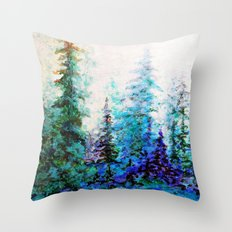 Mountain Landscape Pines In Blue-Greens-Purple Throw Pillow