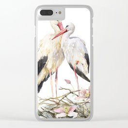 Two Storks Watercolor Painting, Wildlife Art, Clematis Plant, Wild Birds Clear iPhone Case
