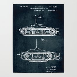 Combination submarine and land tank Poster