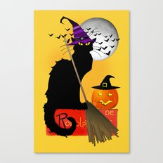 Le Chat Noir - Halloween Witch Canvas Print