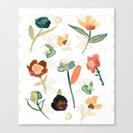 Anthro Inspired Floral Pattern Canvas Print