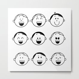 Set of Adorable Boy facial emotions. Boy face with different expressions. The boy portrait avatars. Variety of emotions teen guy. Metal Print