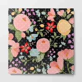 Colorful pink black white polka dots floral illustration Metal Print