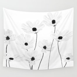 black and white cosmos Wall Tapestry