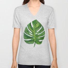 Monstera Leaf Watercolor Painting Unisex V-Neck