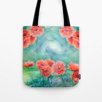 poppies Tote Bags featuring Poppies by LudaNayvelt