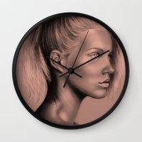 russian Wall Clocks featuring + RUSSIAN DOLL + by Sandra Jawad