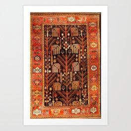 Floral Persian Bakhtiari Rug Print Art Print