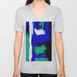blue green and white painting texture with black background Unisex V-Neck
