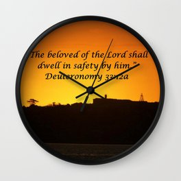 Christian Artwork: The beloved of the Lord shall dwell in safety by Him, God, Love, NZ Wall Clock