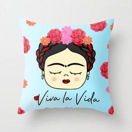 Viva la Frida, artist, flowered Throw Pillow