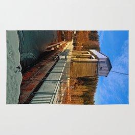Hydropower station in winter wonderland | architectural photography Rug