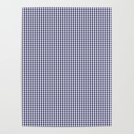 USA Flag Blue and White Gingham Checked Poster