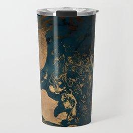 Emerald Indigo And Copper Glamour Marble Travel Mug