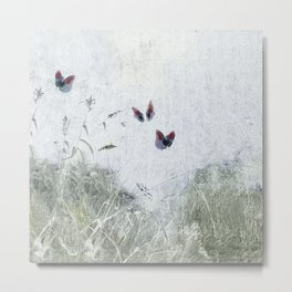 A Spell for Creation - butterflies amongst grass Metal Print