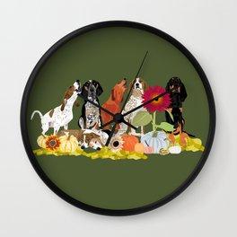 Hello Autumn Coonhounds Wall Clock