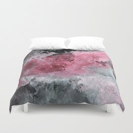 Abstract Acrylic Painting  RED BLACK and WHITE Duvet Cover
