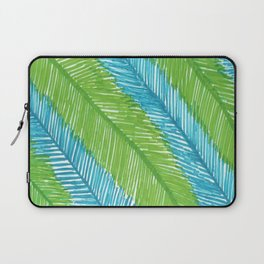 Blue and Green Palm Leaves Laptop Sleeve