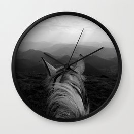 Between the ears of my horse Wall Clock