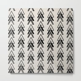 Mudcloth Black Geometric Shapes in White Throw Pillow-ARROWS 2 Metal Print