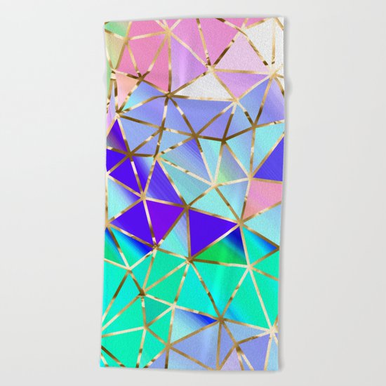 Rainbow Geometric pattern #6 Beach Towel