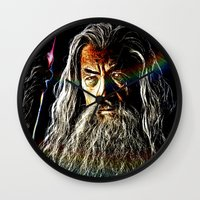 gandalf Wall Clocks featuring Gandalf by D77 The DigArtisT