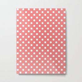 Small Polka Dots - White on Coral Pink Metal Print