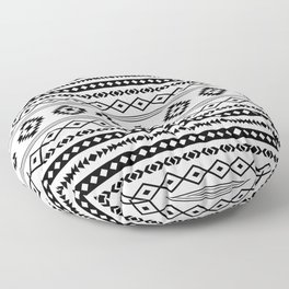 Aztec Black on White Mixed Motifs Pattern Floor Pillow