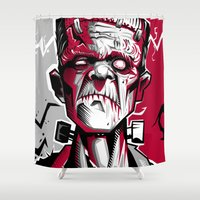 frankenstein Shower Curtains featuring frankenstein by don motta