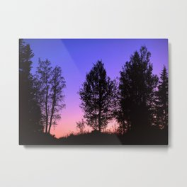 Nightfall. Purple and pink sky in the forest after sunset. Metal Print