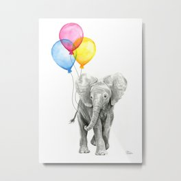 Baby Elephant with Balloons Nursery Animals Prints Whimsical Animal Metal Print
