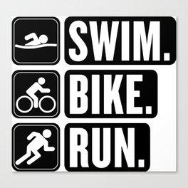 Swim Bike Run Block 2 Canvas Print