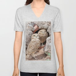 Mating Pair of Burrowing Owls Unisex V-Neck