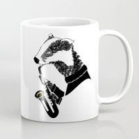 badger Mugs featuring Badger Saxophone by mailboxdisco