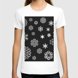 Modern black white hand painted snow flakes T-shirt