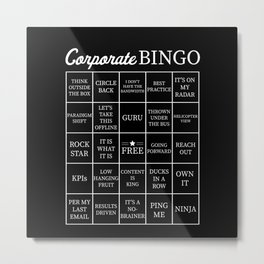 Corporate Jargon Buzzword Bingo Card Metal Print