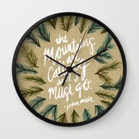 the mountains are calling Wall Clocks featuring Mountains Calling – Kraft by Cat Coquillette