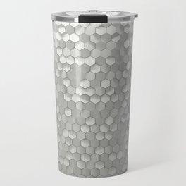 White hexagons Travel Mug