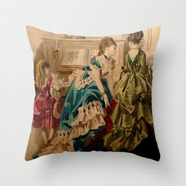 Two Bustles, a Piano, and a Cat Throw Pillow