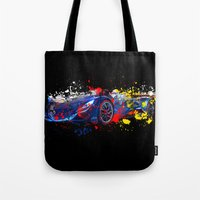 sport Tote Bags featuring sport car by mark ashkenazi