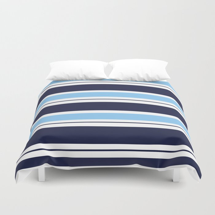 Blue Navy and Turquoise Stripes Duvet Cover