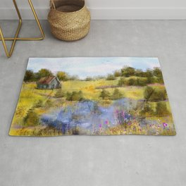 Field of Lake and Flowers Rug