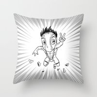 hentai Throw Pillows featuring KWeb #6 : Hentai Kamen (black & white) by Adrien ADN Noterdaem