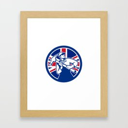 British Joiner Union Jack Flag Icon Framed Art Print