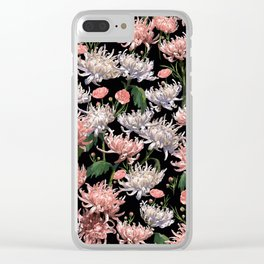 Coral + White Mums Clear iPhone Case