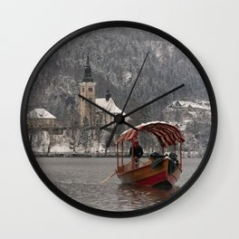 Red Pletna Boat At Lake Bled Wall Clock