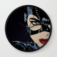 catwoman Wall Clocks featuring Catwoman by Cassidy Dawn
