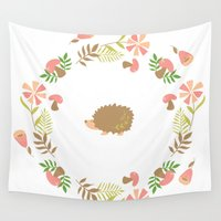 hedgehog Wall Tapestries featuring Hedgehog! by vectorgraphicscorner
